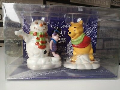 Paul Cardew Disney Pooh & Piglet Winter Salt & Pepper Pot  Set - New Freepost X