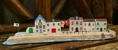 Handmade Driftwood Fisherman Cottages Harbour Display Ornament
