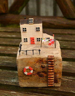 Handmade Driftwood Fisherman's Cottage Display Ornament
