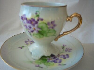 Vintage R S Prussia Footed Teacup & Saucer w Red Mark with Violets Charming