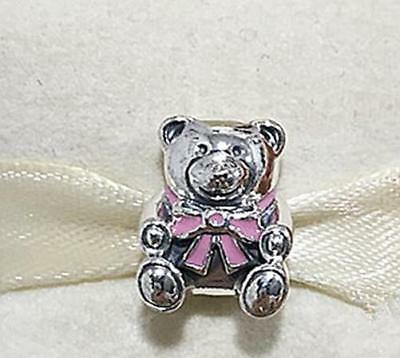 0c93d4c36 AUTHENTIC 😍 PANDORA 😍 silver CHARM 791124EN24 IT'S A GIRL TEDDY BEAR PINK  BABY