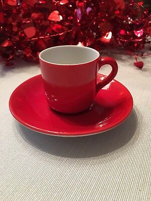 Shenango Restaurant China New Castle PA Bright Red Demitasse Cup And Saucer Set