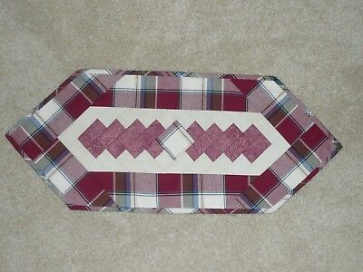 Handmade Quilt table runner, Longaberger Paprika Plaid, Valentines Day, Red