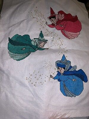 Completed Cross Stitch Of Three Fairies From Sleeping Beauty