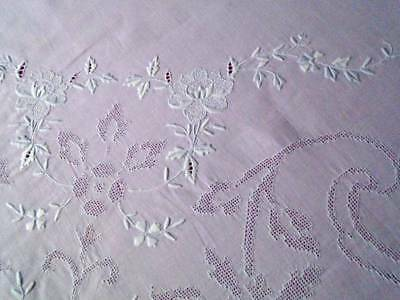 Exquisite Vintage H.embroidered Linen Tablecloth ~ Mosiac Work & Raised Florals