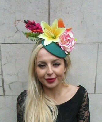 Jade Green Yellow Tropical Flower Feather Hat Hair Fascinator Floral Races 6840