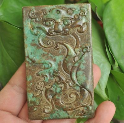 Chinese ancient old hard jade hand-carved pendant necklace~Dragon Tiger   M003
