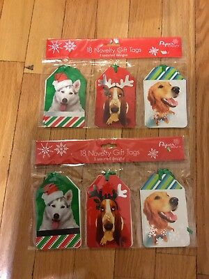 Basset Hound & Friends Husky,Golden Retriever Christmas Gift Tags 2 Sets