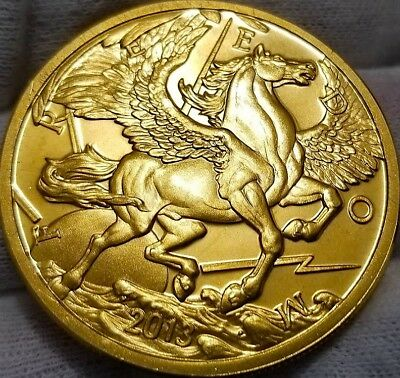 NEW  2013 PEGASUS  24k Gold Gilded 1oz .999 pure Silver Coin F