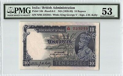 India / British ND (1928-35) P-16b PMG About UNC 53 10 Rupees