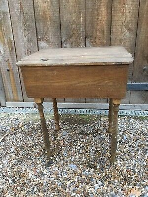 Antique / Vintage Single School Desk Modified And On Barley Twist Legs