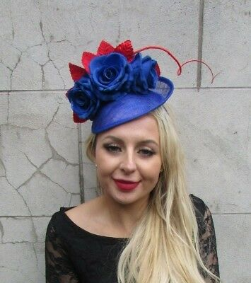 Royal Blue Red Rose Feather Flower Disc Saucer Hat Fascinator Hair Races 6847