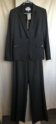NWT CALVIN KLEIN Womens Two Piece PANT SUIT SIZE 12 Charcoal Stretch GORGEOUS
