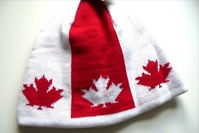 Unisex CANADA Red / White Maple Leaf Skull Beanie One Size Tags Auc1