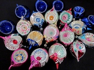 STELLAR Set of 20 Vintage Hand Painted Blown Glass Indent Christmas Ornaments