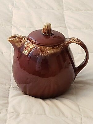 Vintage HULL OVEN PROOF USA Brown Drip TEA POT WITH LID ~ EXCELLENT CONDITION