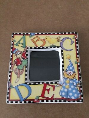 """Mary Engelbreit Charpente Small 3"""" Ceramic Photo Picture Frame Baby Nursery ABCs"""