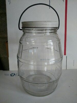 Vintage Large Clear Glass Pickle Barrel Jar w/ Metal Lid Wire Bail  Handle