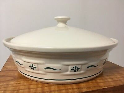 Longaberger Pottery Heritage Green 2 QT Casserole Dish with Lid