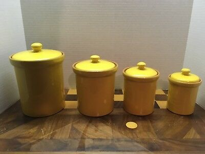 VINTAGE CERAMIC YELLOW Kitchen Canister Set of 4 Made in ...