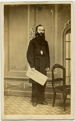 Excellent CDV of Long-Bearded Phrenologist Standing Holding Papers by Mendenhall