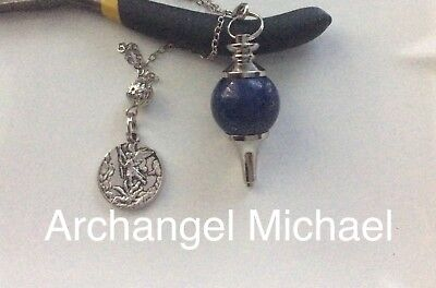 Code 299 Archangel Michael Lapis Lazul Infused Pendulum Doreen Virture Certified
