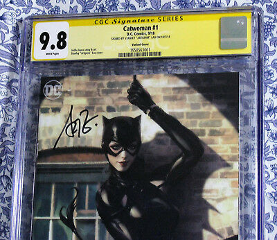 Catwoman #1 CGC SS 9.8 Stanley Artgerm Lau Variant Signed at NYCC HTF HOT