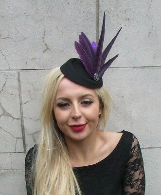 Black Dark Purple Pheasant Feather Pillbox Hat Hair Clip Fascinator Races 6855