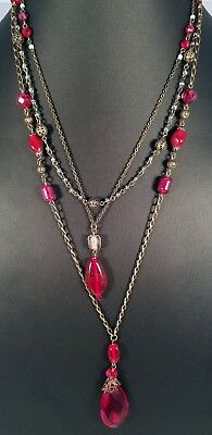 Vintage Inspired Lia Sophia Bronze Tone Layered Removable Chains Red Necklace