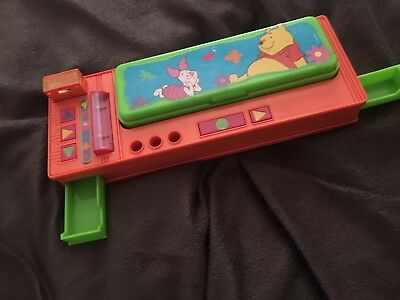 Vintage Winnie The Pooh Pencil Case Holder Box with Buttons