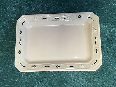 Longaberger Pottery Heritage Green Rectangular Serving Tray Platter