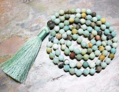 Yoga Healing pray Lucky 6MM Natural Amazonite green 108 Beads Tassels Necklace