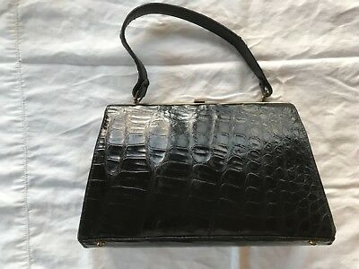 1960 vintage black alligator purse with original coin purse and mirror