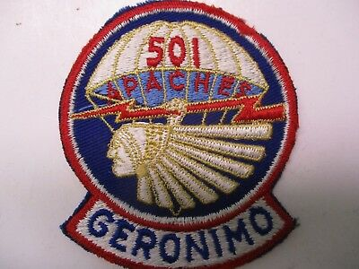 US WWII 501 APACHES GERONIMO Patch, Machine Embroidered on Blue Ribbed Materi