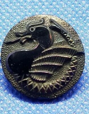 Antique Japanese or Chinese Black Glass Button with dragon