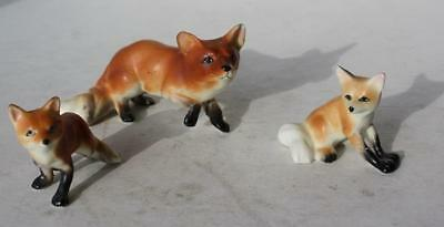 Fox Figures Set of 3 Ceramic-Porcelain Hand Painted Bone China-Adorable Set-VTG