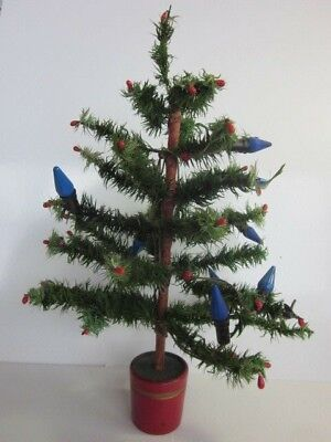 """Authentic Antique 22"""" German Goose Feather Christmas Tree with Red Tips & Base"""