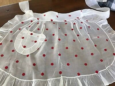 Vintage Apron White Sheer Red Flocked Polka Dots So Cute! (2)