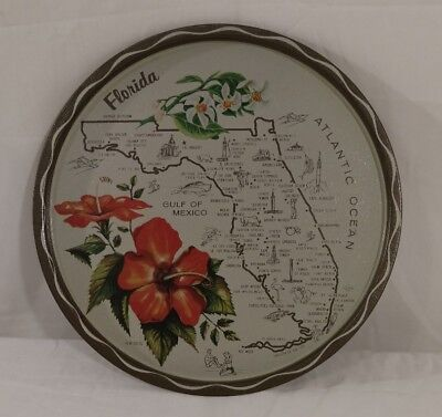 Vintage State of Florida Map Metal Travel Souvenir Round Tray Plate