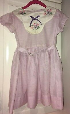 Vintage 1940s Girls Pale Purple Dress Nylon Embroidered Flowers