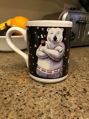 Coca-Cola Polar Bear Coffee Mug Cup 15 ounces  Boxers Jeans Anthropomorphic