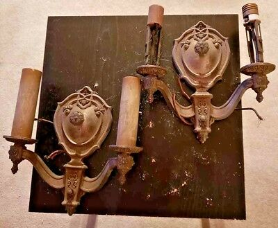 Pair of 2 Antique Wall Sconces--2 Arm--Vintage Metal Lighting Fixtures-Riddle Co