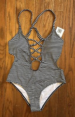 2b2452e57cd41 NWT Cupshe Women's One Piece Swimsuit Size Small Navy Striped Plunge Open  Sides