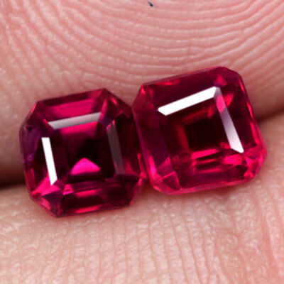 2Ct. Matched! Scissor Cut Pinkish Red Natural Ruby Mozambique