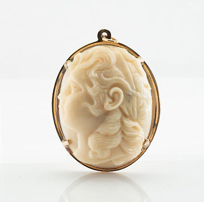 Carved Coral Cameo Pendant High Profile 14K Yellow Gold Large