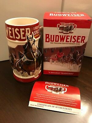 2018 Budweiser Holiday Stein Christmas Beer Mug Annual Series Holiday Tradition