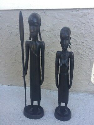 (2) 1957 African Handcarved Wooden Warrior W Spear & Woman From Uganda Figurines