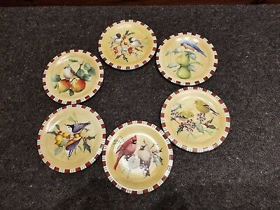 """Lenox Winter Greetings Everyday 8 1/2"""" Salad Plates, Set of Six - Mint Condition"""