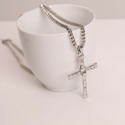 Cross Pendant Necklace Silver Unisex's Chain Men Women Fashion Jewelry L