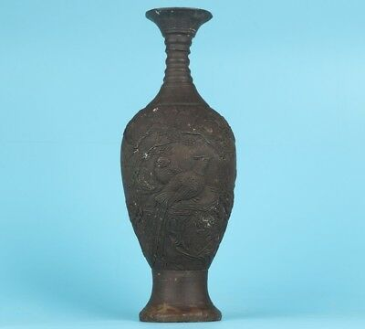 Big China Old Bronze Casting Rare Flower Bird Statue Vase Royal Collection